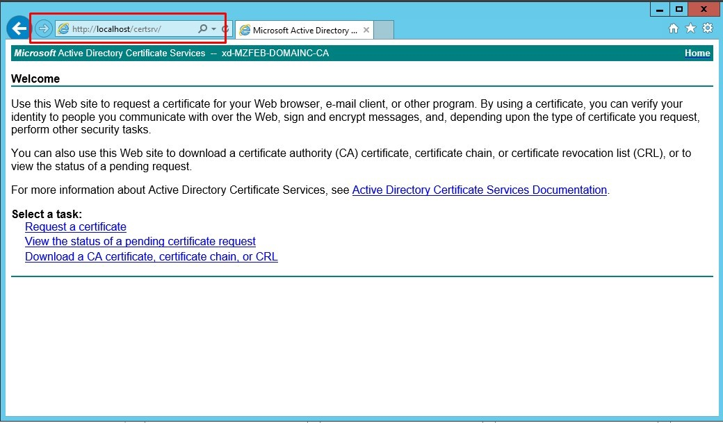 Image of the welcome page when the ad certificate services are installed successfully
