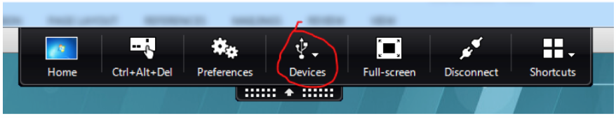 image of the devices tab in the receiver toolbar
