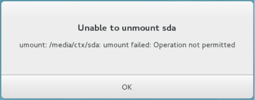 image of unable to unmount sda
