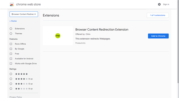 Image of adding the Citrix browser content redirection extension from the Chrome Web Store