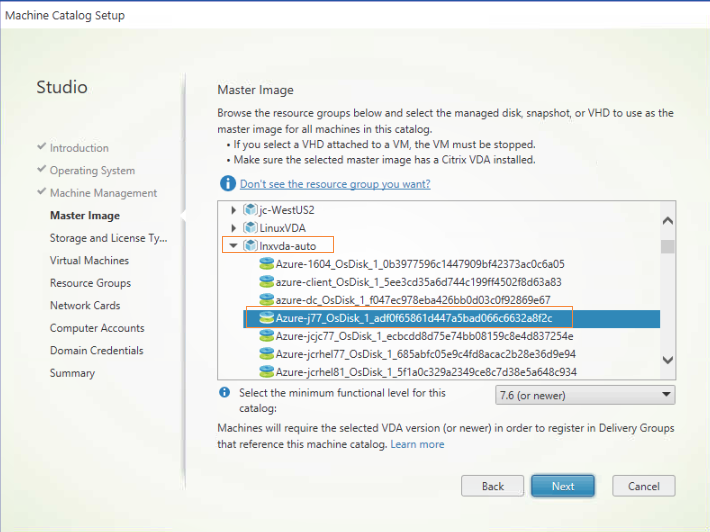 Image of finding VHD of the template VM