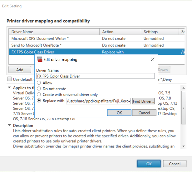 image of printer driver mapping and compatibility policy
