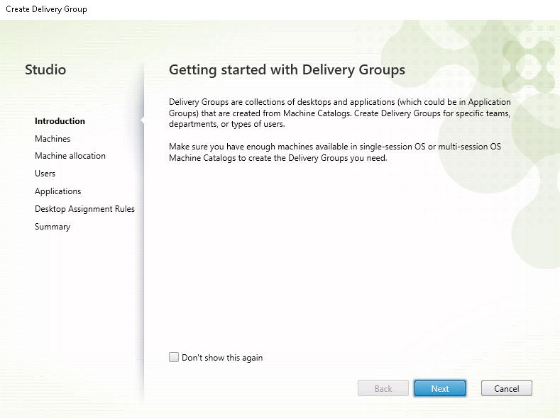 Image of the Getting started with Delivery Groups page