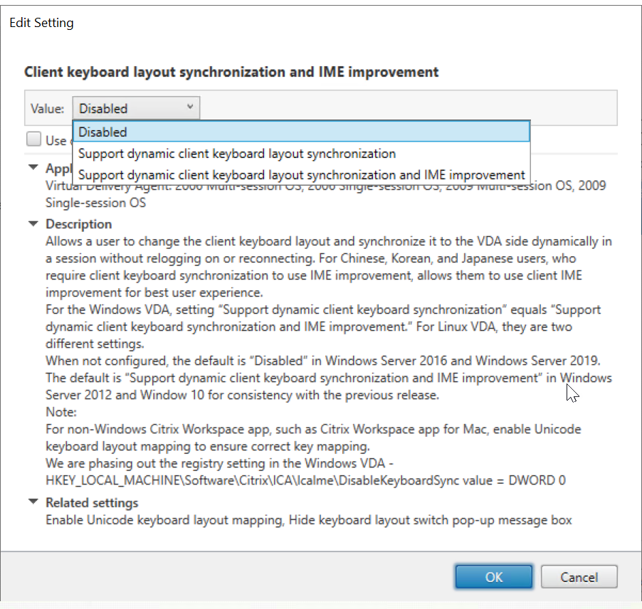 Image of setting the Client Keyboard Layout Sync and IME Improvement policy