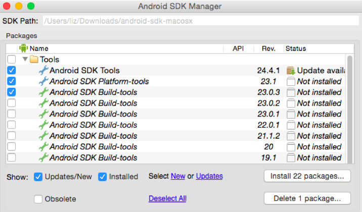 Image of the Android SDK Manager screen