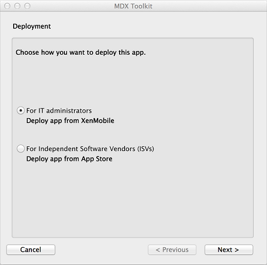 MDX Toolkit Deployment options