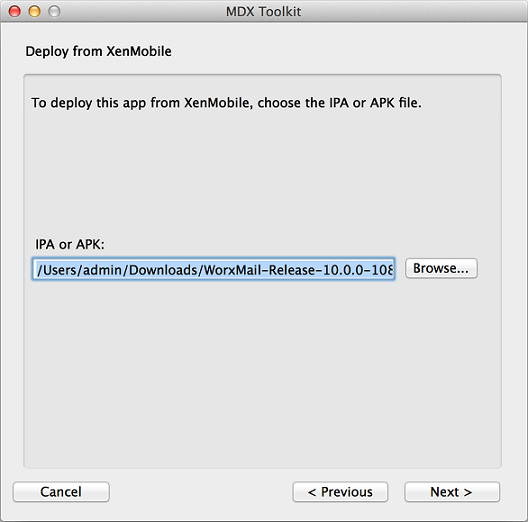 MDX Toolkit Choose file for deployment