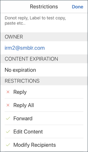 Secure Mail IRM 详细信息