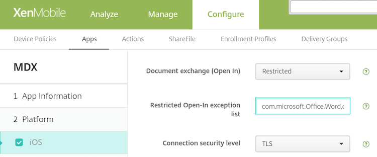 Image of the Document exchange (Open In) policy