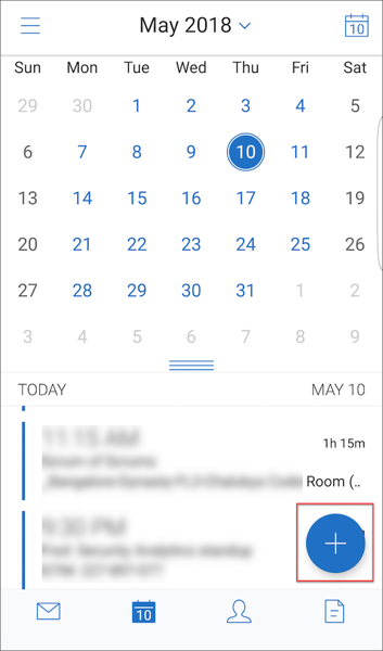 Image of the calendar floating action button