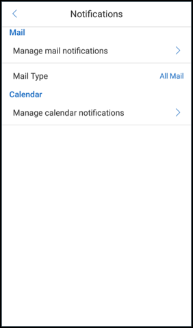 Paramètres de notifications Secure Mail
