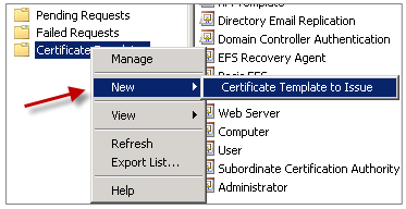 Image of the New Certificate Template to Issue option