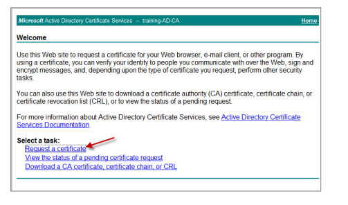 Image of the Request a certificate option