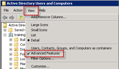 Image of the Advanced Features option