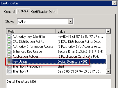 Image of the certificate to sign email messages