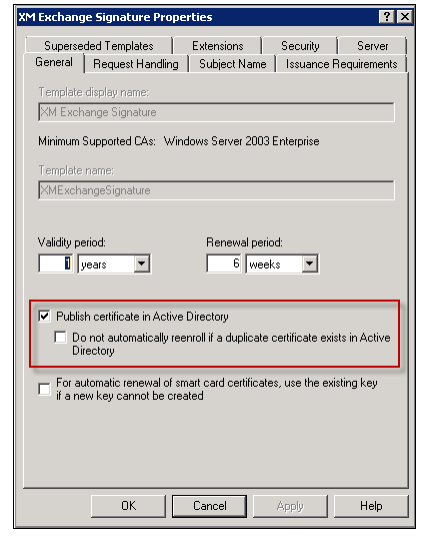 Image of the Publish certificate in Active Directory check box