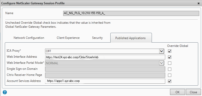 Published Applications Tab in the Session Profile for NetScaler Gateway Plug-in