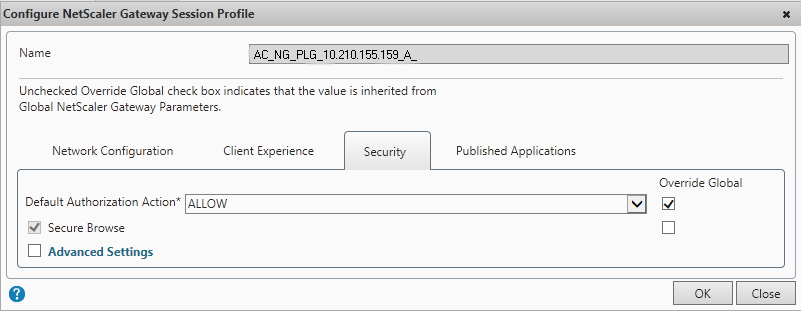 Security Tab in the Session Profile for NetScaler Gateway Plug-in