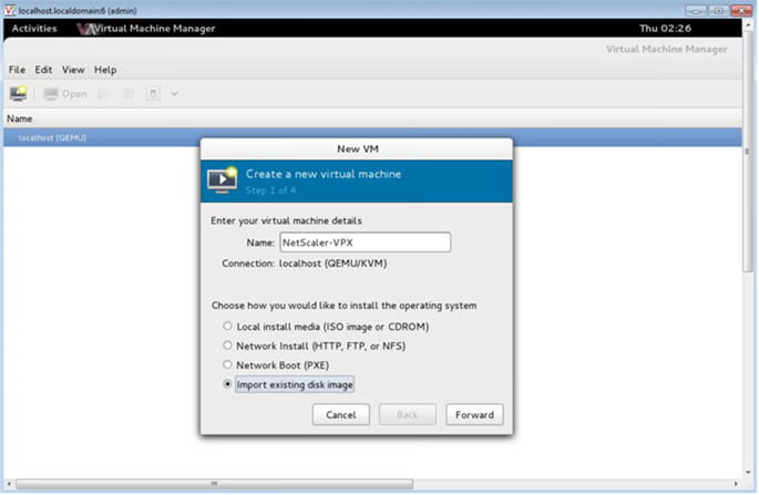 Provision the NetScaler VPX instance by using the Virtual Machine