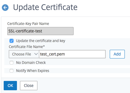 Install, link, and update certificates
