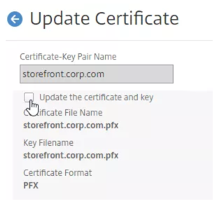 Update server certificate and key
