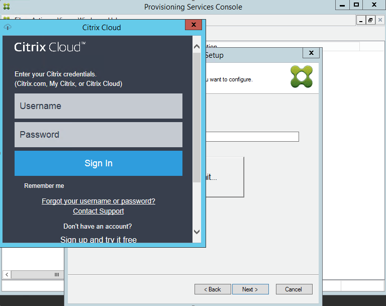 Image of Citrix Cloud sign-on screen
