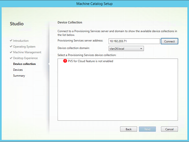Image of Citrix Provisioning for Cloud feature is not enabled error