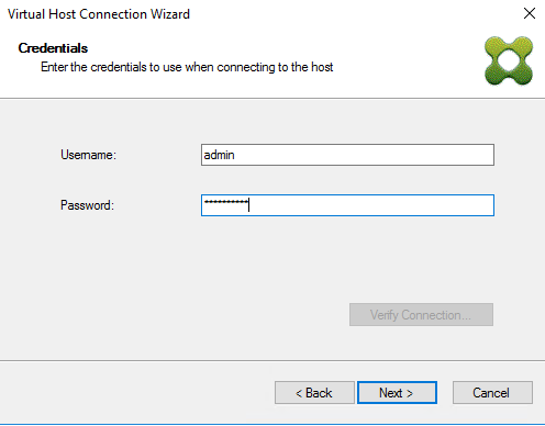 Image of the virtual host connection wizard credentials dialog box