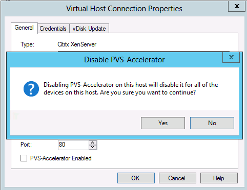 Image de l'option de désactivation de Citrix Provisioning Accelerator