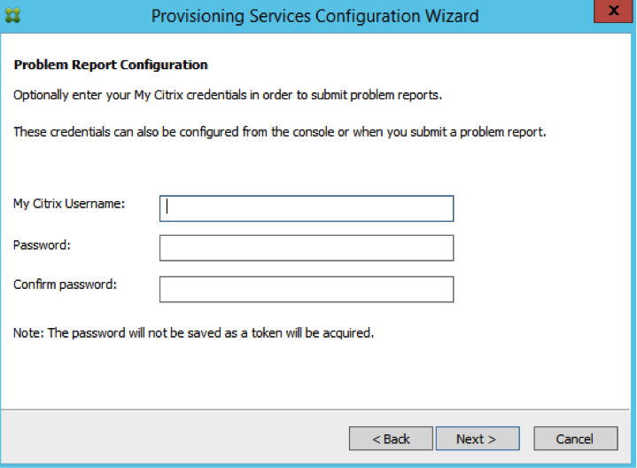 Image of problem reporting configuration screen