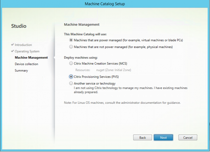 Image of Machine Management screen