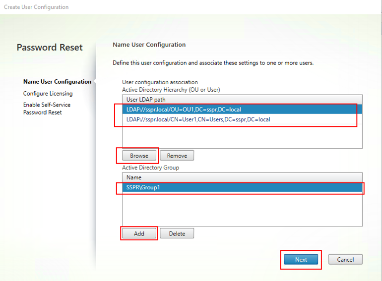 Image of user configuration