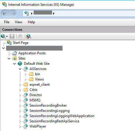 Image of applications hosted on IIS