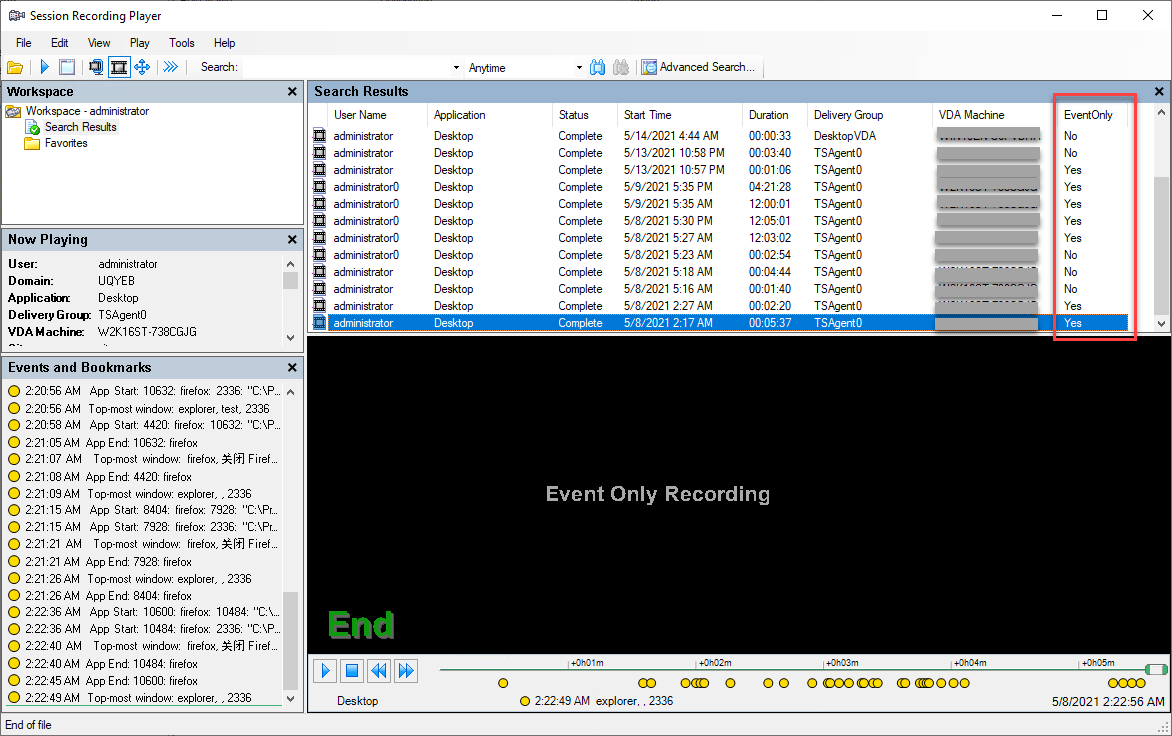 An event-only recording played in the Session Recording Player