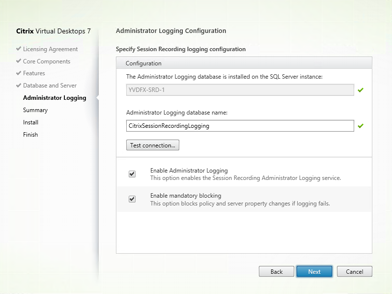 image of admin logging configuration