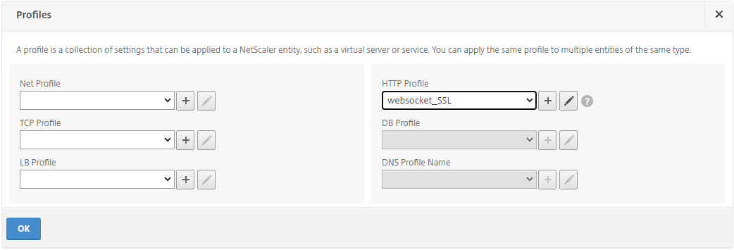 Add an HTTP profile for the load balancing virtual server of port 22334