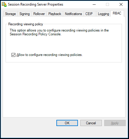 image of allowing to configure recording viewing policies