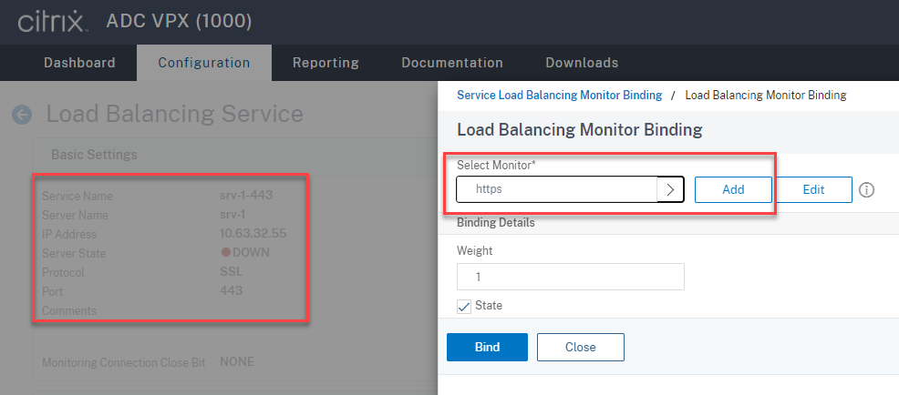 Bind the HTTPS protocol monitor to the SSL load balancing service of port 443
