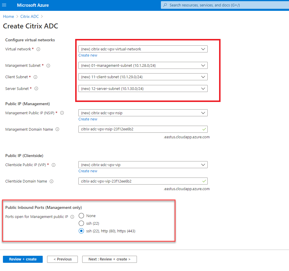 Citrix ADC network settings