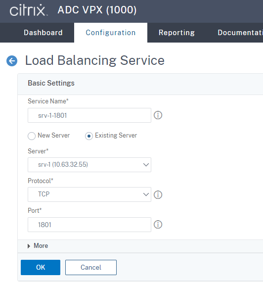 Create an SSL load balancing service of port 1801