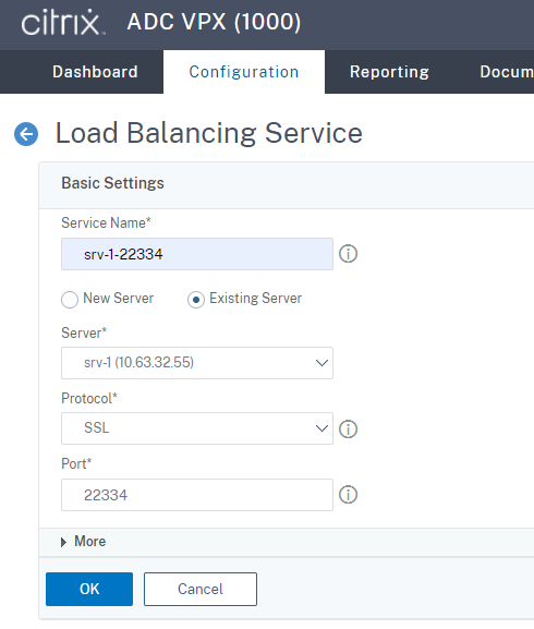 Create an SSL load balancing service of port 22334