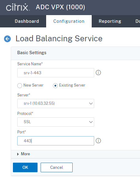 Create an SSL load balancing service of port 443