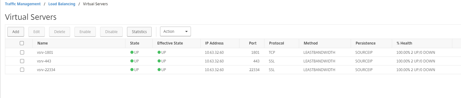 Load balancing virtual servers of three port numbers