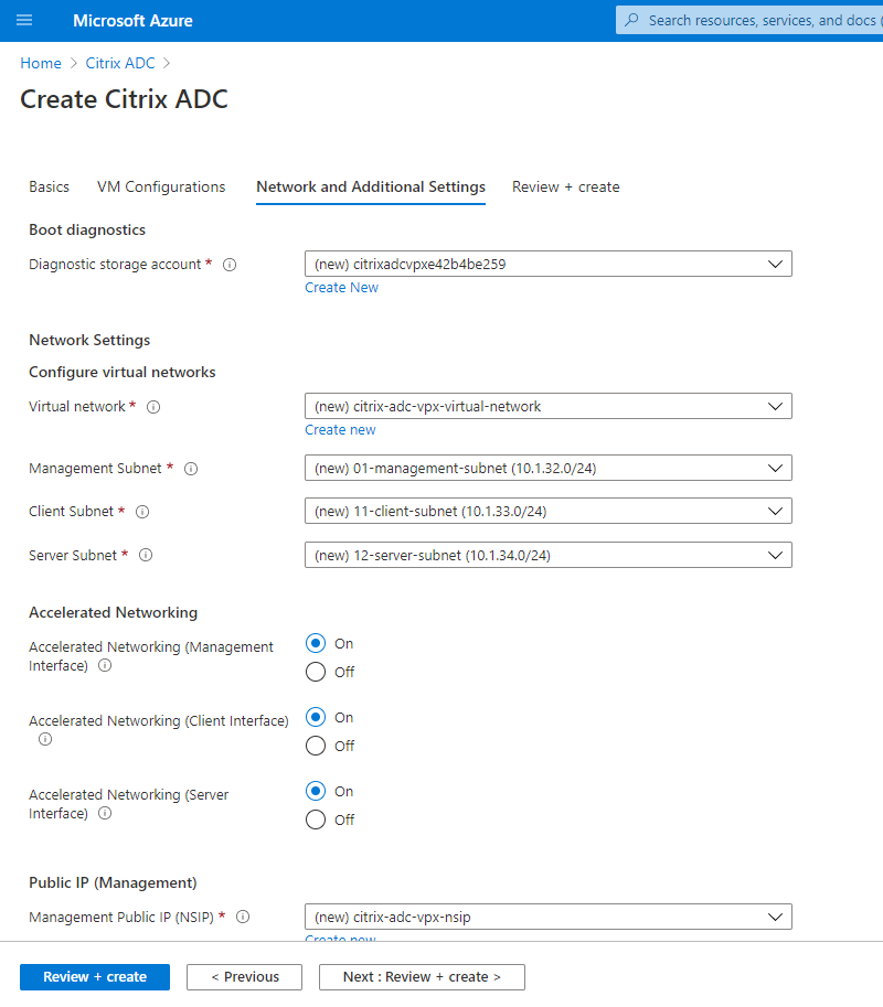 More Citrix ADC network settings