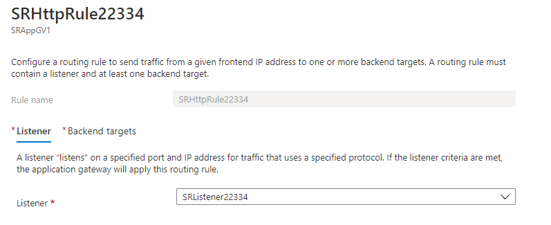 Request routing rule for port 22334 - Listener tab