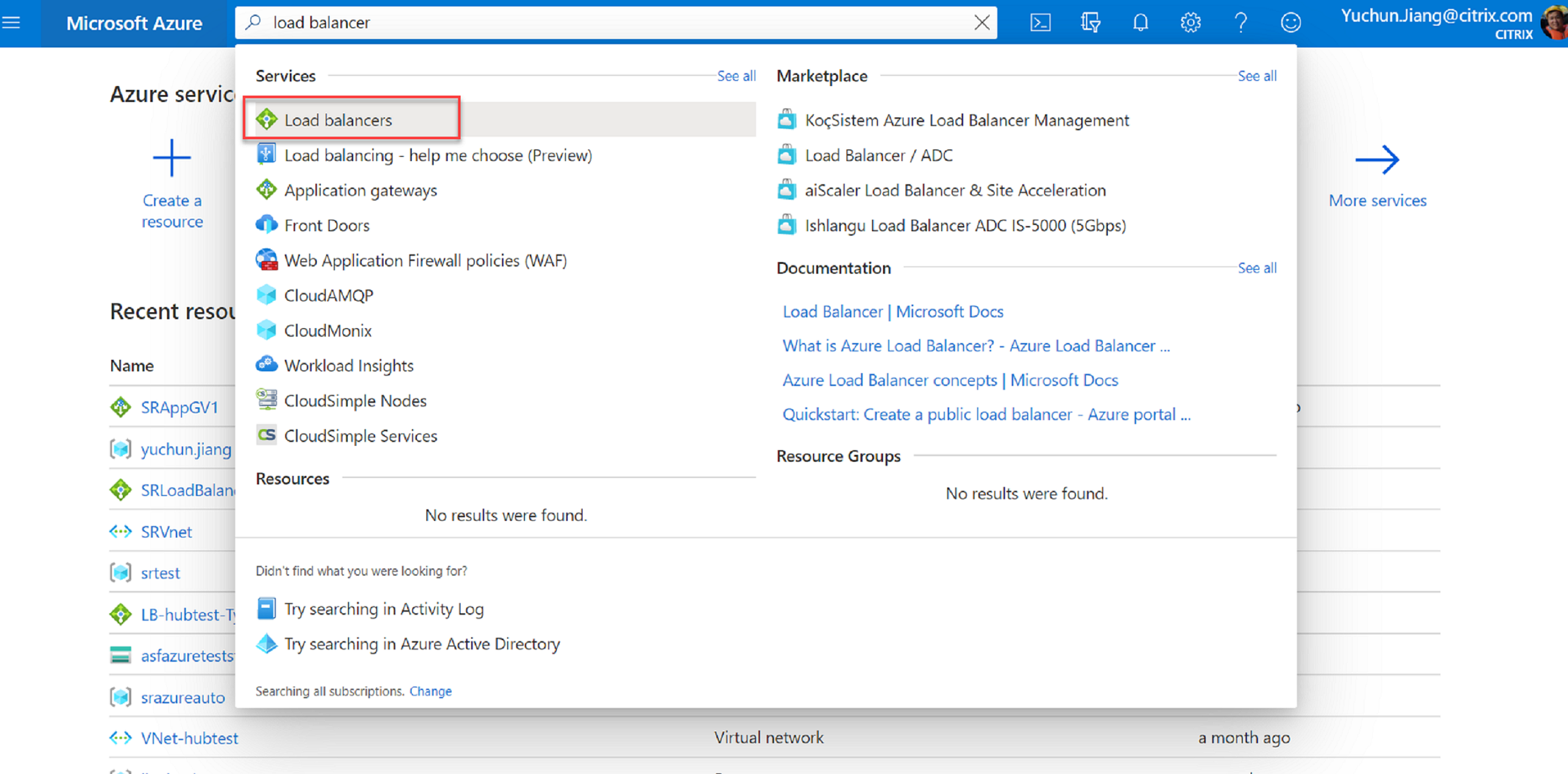 Search for Azure Load Balancer in the Marketplace