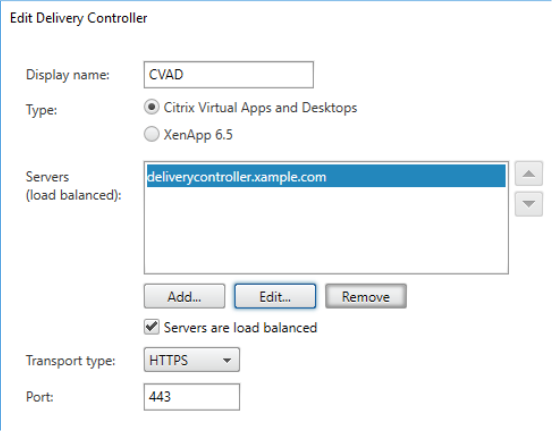 Edit Delivery Controller panel