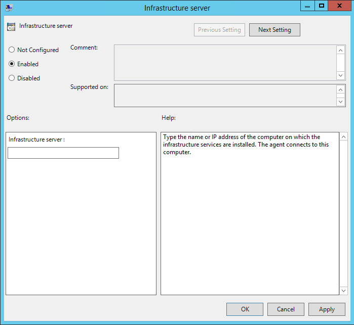 Configure group policy - infrastructure server