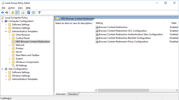 Browser content redirection group policy template