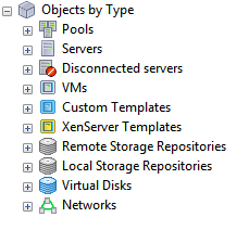A tree structure with Objects By Type at the top and expandable nodes beneath it with the following labels: Pools, Servers, Disconnected servers, VMs, Custom Templates, XenServer Templates, Remote Storage Repositories, Local Storage Repositories, Virtual Disks, Networks.